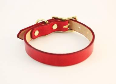 Ошейник кожаный (Red, GH) ручной работы