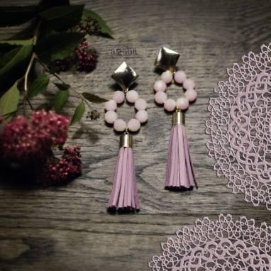 серьги -кисти с розовым кварцем ручной работы