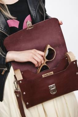 Женская сумка из кожи и дерева (Wood leather bag) ручной работы