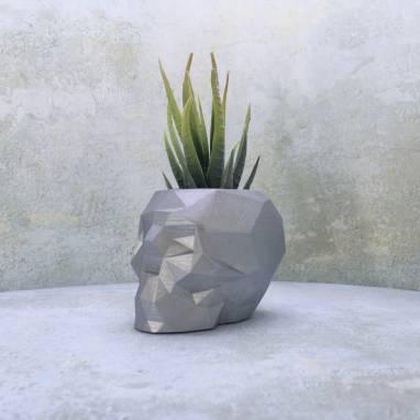 Полигональный серебряный череп горшок  ручной работы