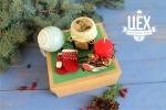 Подарок с новогодним шаром и снегирем