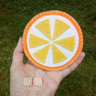 Фетровая подставка Апельсинка ручной работы