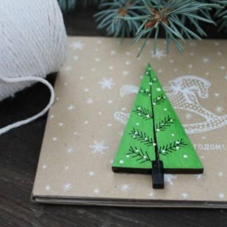 магнит деревянный новогодний Ёлка