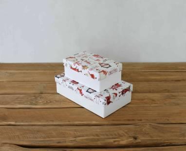 Коробка с новогодним принтом ручной работы