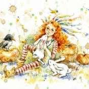 Открытка Амели и кролики
