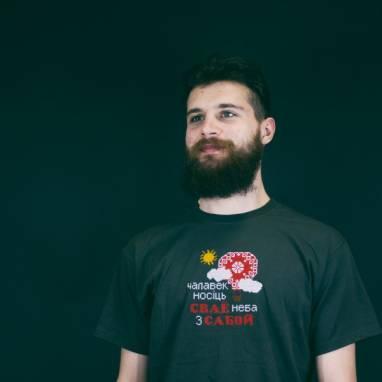 """Мужская футболка вышиванка """"Неба"""" ручной работы"""