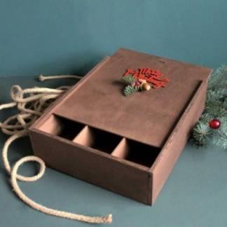 Большая новогодняя деревянная коробка
