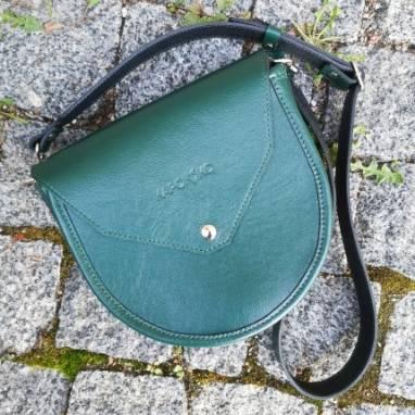Дизайнерская круглая сумка из натуральной кожи ручной работы