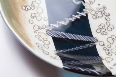 """Тарелка из стекла """"Пляж"""" фьюзинг ручной работы"""
