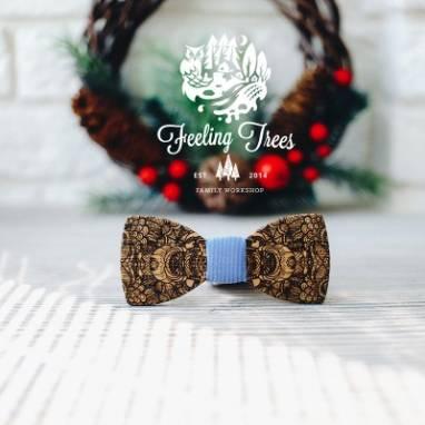 Деревянная галстук - бабочка (Wooden Bow Tie) ручной работы
