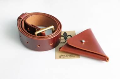Ремень кожаный Taru (cognac) ручной работы