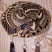Декоративная ключница,рисунок выжжен,хэндмэйд