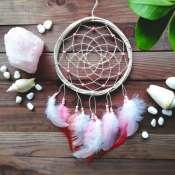 Розовый ловец снов, Подарок для дочери, Подарок лучшей подруге, Украшение на стену в детскую