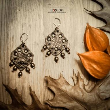 серьги в средневековом стиле из натуральной кожи ручной работы