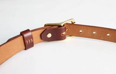 Ремень кожаный (cognac) ручной работы