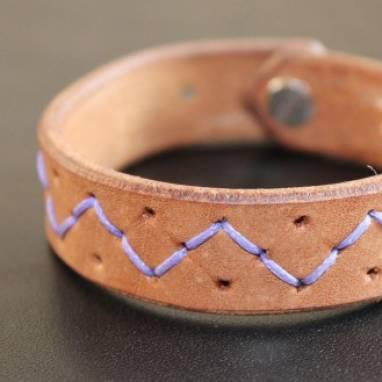 Коричневый браслет из кожи ручной работы