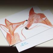 """Почтовая открытка с лисами """"Нежность"""""""