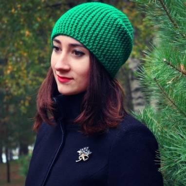 шапка бини Bright Green ручной работы