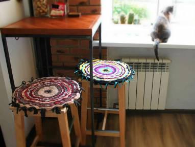 коврик на табурет трикотажный ручной работы