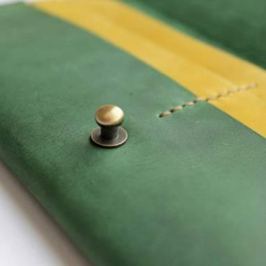 Кошелёк кожаный (deep green) ручной работы