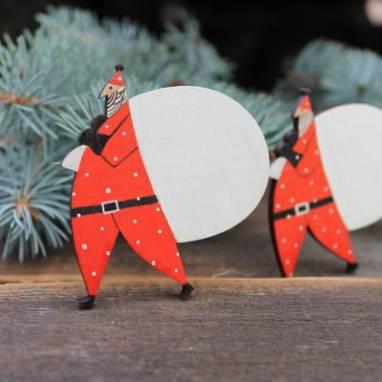 """магнит деревянный """"""""Дед Мороз"""""""" ручной работы"""