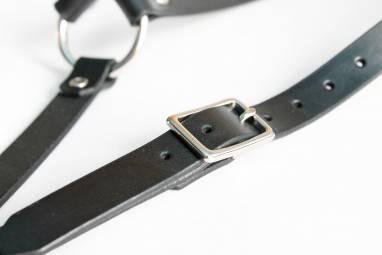 Подтяжки кожаные (black) ручной работы