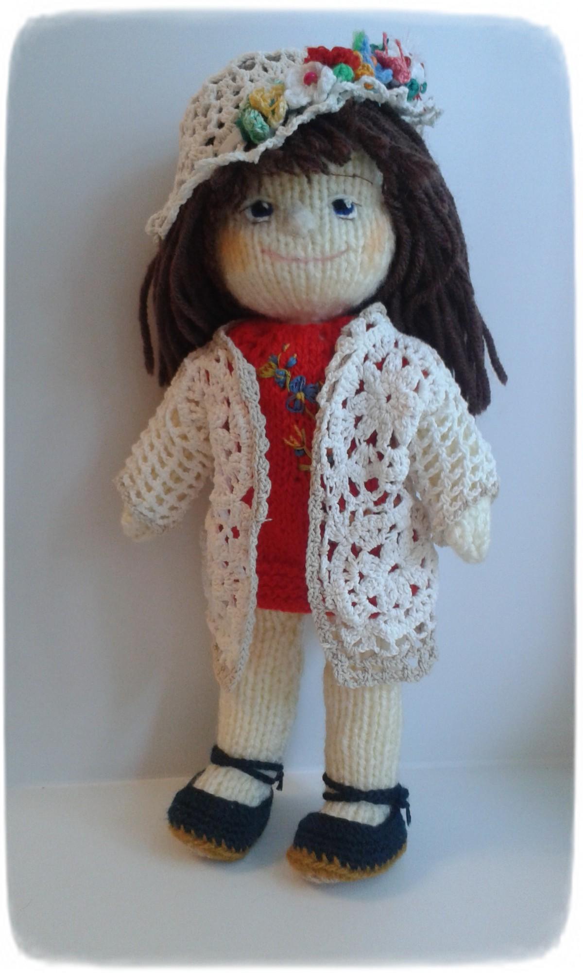 Купить Вязаная кукла вкрасном платье в интернет магазине