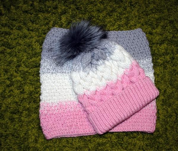 вязаная шапка и снуд градиент купить в интернет магазине цех32