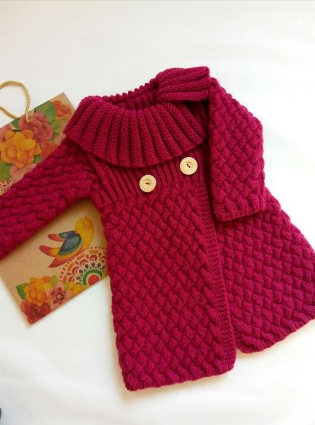 купить вязаное пальто для девочки в интернет магазине